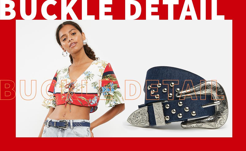 denim buckle bag
