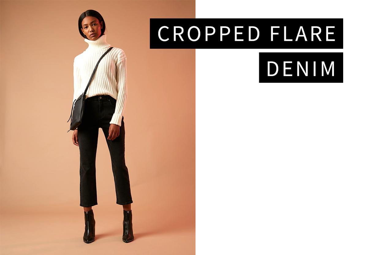Cropped flare denim