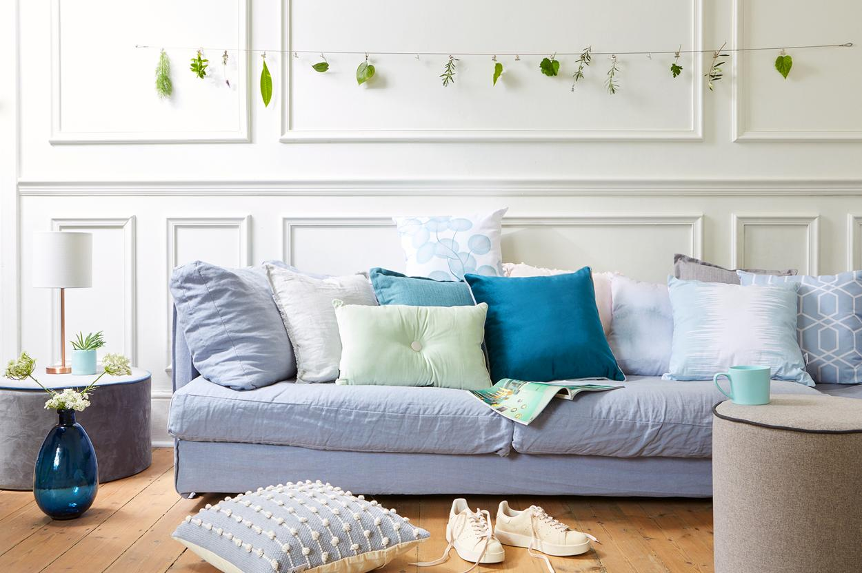 blue and green cushions