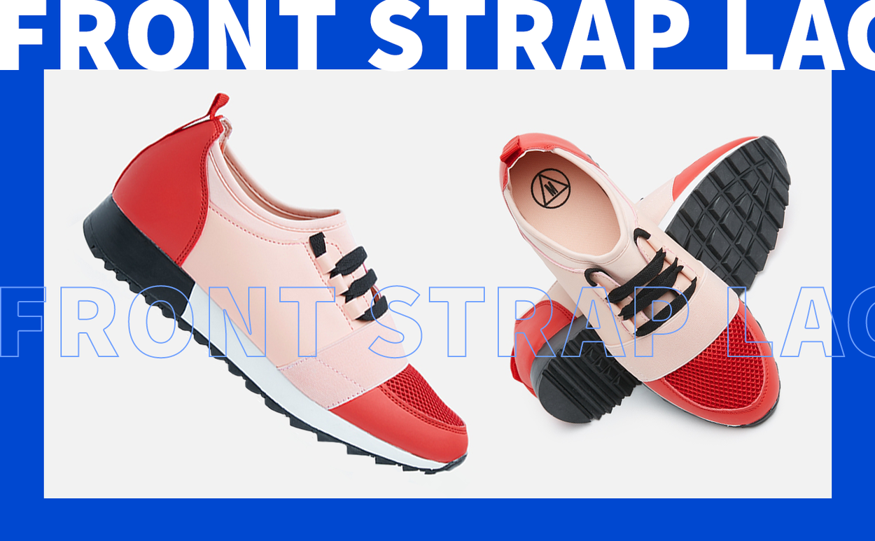 Front strap lace up runner - pink & red