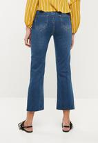 Missguided - High waisted raw hem kick flare - blue