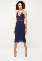 Missguided - Lace ladder detail midi dress - navy