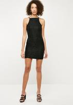 Missguided - Lace square neck bodycon dress - black
