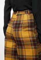 Missguided - Check wide leg trousers - yellow & brown