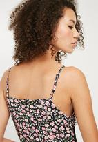 Missguided - Lace trim ditsy floral cami midi dress - multi