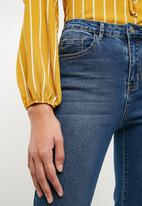 Missguided - Striped frill tea blouse - mustard