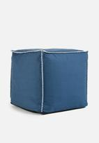 Sixth Floor - Blanket stitch ottoman - navy