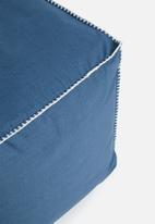 Sixth Floor - Blanket stitch ottoman - navy