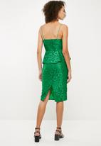 Missguided - Strappy lace midi dress - green