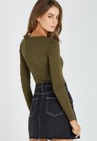 Supré  - Square neck crop top - green