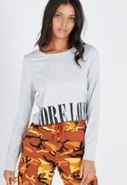 Supré  - Printed long sleeve loose crop - grey
