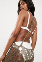Missguided - Metallic ladder detail maxi dress - bronze