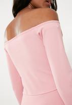 Missguided - Bardot foldover wrap dress - pink