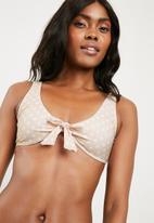 Missguided - Tie front polka dot bikini - beige & white