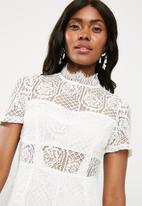 Missguided - Lace short sleeve playsuit - white
