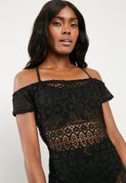 Missguided - Crochet bardot maxi dress - black