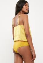 Missguided - Satin insert bodysuit - yellow