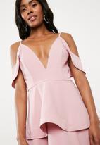 Missguided - Strappy cold shoulder skater dress - pink