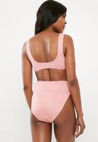 Missguided - Rib sport crop bikini top mix and match - pink