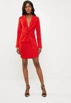Missguided - Twist front mini dress - red