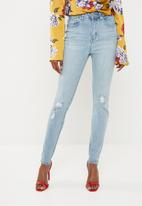 Missguided - Sinner highwaisted distressed knee jean - blue