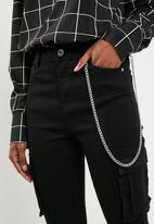 Missguided - Sinner highwaisted combat chain skinny - black