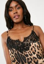 Missguided - Leopard lace trim cami top - brown