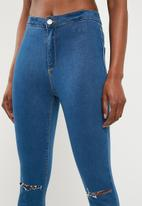 Missguided - Vice highwaisted slash knee skinny jeans - blue