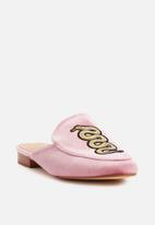 Missguided - Snake embrodied mule - pink