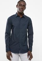 Superbalist - Concealed button stand poplin shirt - navy