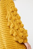 Missguided - Hand knitted bobble sleeve chunky cardigan - mustard