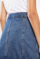 Cotton On - Mini denim skirt button through mid - blue