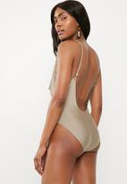 Missguided - Drape swimsuit - taupe
