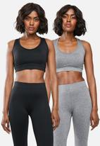 Superbalist - Core bra 2 pack - black & grey