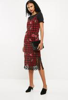 Superbalist - Midi slip dress with lace trim - multi