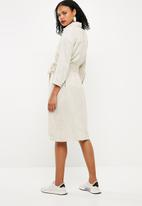 Superbalist - Linen midi shirt dress - beige