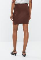 Missguided - Soft touch  wrap skirt - brown