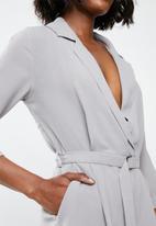 Missguided - Wrap tux playsuit - grey