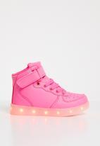 POP CANDY - High top light up velcro strap sneaker - pink