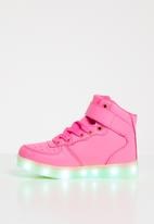 POP CANDY - High top light up velcro strap sneaker - pink
