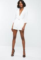 Missguided - Wrap blazer playsuit - white