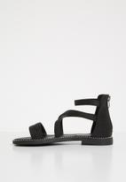 POP CANDY - Kids glitter gladiator flat sandal - black