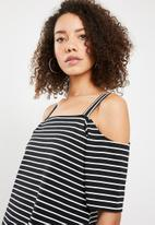 Superbalist - Off the shoulder dress with strap detail - black and white