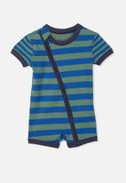 Cotton On - Mini ss zip through  - green & blue
