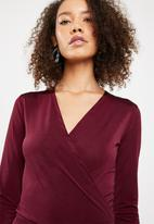 Superbalist - Knit combo bodysuit - burgundy