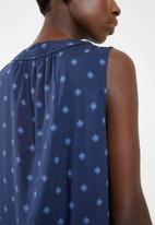 edit - Sleeveless printed day dress - blue