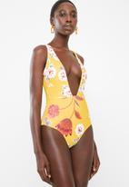 Bacon Bikinis - Plunge one piece swimsuit - yellow