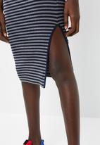 Superbalist - High waisted midi bodycon skirt with slit - navy & grey
