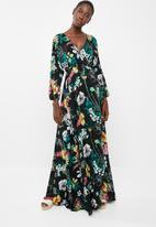 AMANDA LAIRD CHERRY - Eleonora draw front  maxi dress - multi