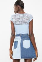 Sissy Boy - Lace insets with logo top - blue